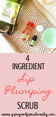 4 Ingredient DIY Natural Lip Plumping Scrub ~ Primp And Prime Beauty Diy Lip Gloss, Plumping Lip Gloss, Small Jars With Lids, Lip Injections, Big Lips, Natural Lips, Diy Beauty, Beauty Hacks, 4 Ingredients