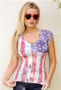 This Patriotic American flag print top is soft , stretchy and a sheer burnt out fabric.Perfect Patriotic 4th of July tee.