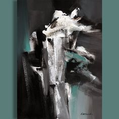 SALE Off Painting Black and White Grey Green Abstract Painting, Modern Painting Original Abstract Portrait, Abstract Art, Green And Grey, Black And White, Original Paintings, The Originals, Canvas, Modern, Artwork