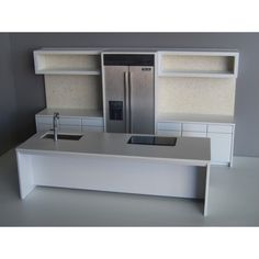 Modern Dollhouse Furniture | M112 PODS | Frenton Kitchen in White with Pebble Back Wall by Paris Renfroe Design