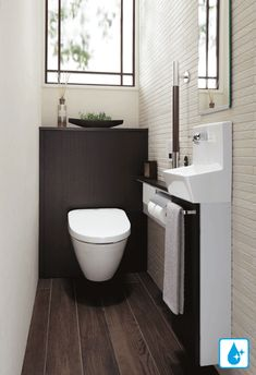 Decor - Just another WordPress site Small Toilet Design, Small Toilet Room, Guest Toilet, Bathroom Design Small, Downstairs Bathroom, Laundry In Bathroom, Bathroom Layout, Muji Home, Wc Design