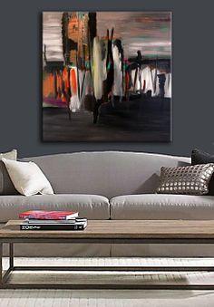 "Original Painting, Grey, Black, Orange, White Abstract, Acrylic on Canvas, Fine Art size 30"" x 30"" x 3/4"", Modern Art."