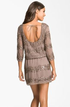 Adrianna Papell Embellished Scoop Back Blouson Dress | Nordstrom