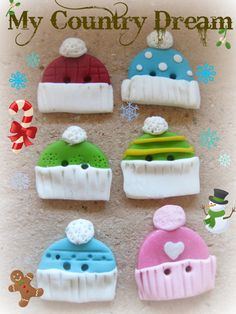 Handmade buttons Cold winter polymer clay set of 6 by dragosafira, $6.00
