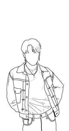 Kpop Drawings, Dark Art Drawings, Art Drawings Sketches Simple, Outline Art, Outline Drawings, Cartoon Wallpaper, Bts Wallpaper, Wie Zeichnet Man Manga, 3d Quilling
