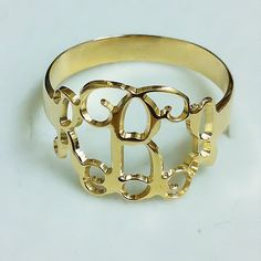monogram ring - gold