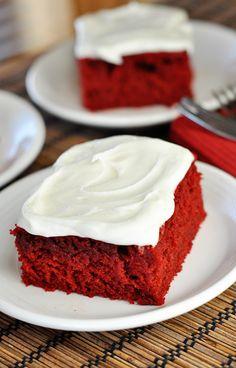 Red Velvet Sheet Cake ~ http://www.melskitchencafe.com/red-velvet-sheet-cake-other-valentine-dinner-ideas/