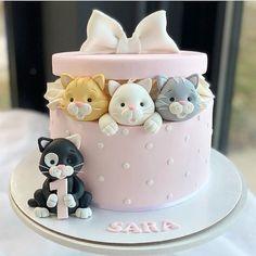 Unique Birthday Cakes, Baby Birthday Cakes, Fondant Cakes, Cupcake Cakes, Birthday Cake For Daughter, Kitten Cake, Rodjendanske Torte, Animal Cakes, Novelty Cakes