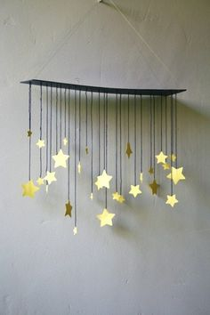 raining stars mobile (easy to make...and I'd glitter the stars)