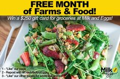 FREE MONTH of Farms & Food! - Contest to Win a $250 gift card for groceries…