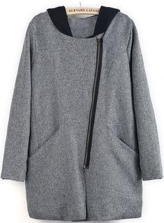 Grey Contrast Hooded Long Sleeve Loose Coat - Sheinside.com