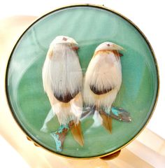 Gucci Vintage Feather Bird Green Compact Mirror Paris