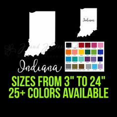 State of Indiana Custom Car Vinyl Decals, Cornhole Decals, Yeti Decals, State Of Michigan, Laptop Decal, Go Shopping, 6 Years, Indiana, Something To Do