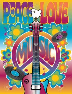 Canvas print of Peace-Love-Music. Vector illustration of a guitar, peace symbol and dove dedicated to the Woodstock Music and Art Fair of Hippie Party, Hippie Birthday Party, Wife Birthday, Hippie Peace, Happy Hippie, 50th Birthday Party Themes, 60s Theme, 1960s Party, Woodstock Music