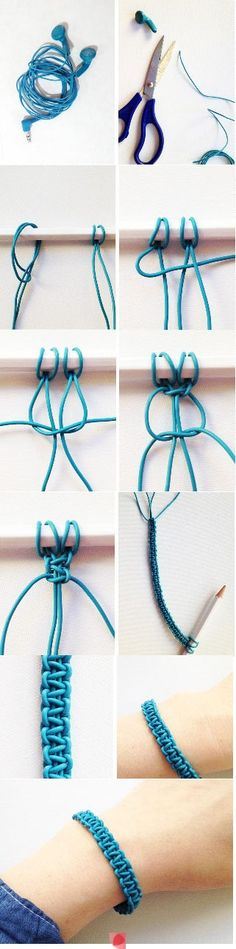 DIY bracelet from old or broken earphones- I think I will try it with coloured cord or even embroidery threads as it gives a pretty effect.