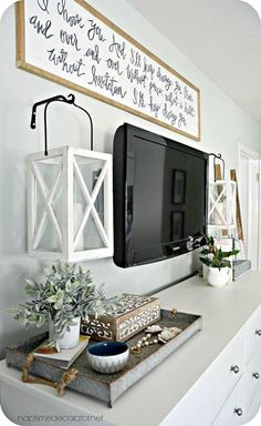 Great idea for how to decorate around your TV! Post includes full source list for frames and art!