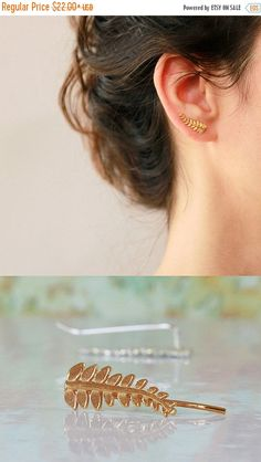 SUMMER SALE Leaves Ear cuff Ear Climber bridal by sigalitaJD