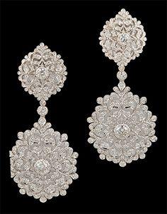 Buccellati 18kt. white gold diamond earrings. Circa 1980s