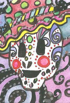 Day of the Dead ACEO Sugar skull Painting Sugar skull Illustration Watercolor Acrylics Mixed Media ACEO Mexican Celebration Sugar Skull Art Sugar Skull Painting, Sugar Skull Art, Sugar Skulls, Original Artwork, Original Paintings, Mexican Celebrations, Skull Illustration, Artist Card, Fairy Art