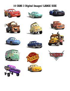 9 DIGITAL Disney CARS 3 Centerpieces  Large Size