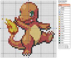 Punto De Cruz Pokemon Patterns by Makibird-Stitching on deviantART - Beaded Cross Stitch, Cross Stitch Charts, Cross Stitch Designs, Cross Stitch Embroidery, Cross Stitch Patterns, Pokemon Cross Stitch, Crochet Pokemon, Pokemon Charmander, 8bit Art