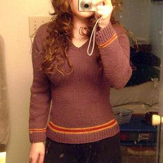 Harry Potter Uniform Sweater by Katie Marcus | see more at knittingfornerds.com ***make the shirt longer, maybe to mid-hip***