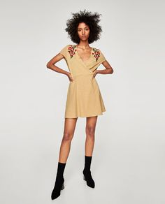 ZARA - WOMAN - EMBROIDERED MINI DRESS IN NAVY BLUE THO