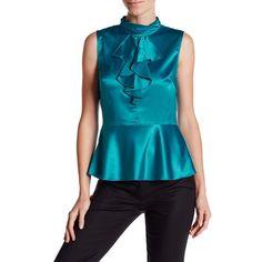 NANETTE nanette lepore Sleeveless Cascade Ruffle Blouse ($40) ❤ liked on Polyvore featuring tops, blouses, peacock, ruffle blouse, keyhole blouse, keyhole top, blue sleeveless top and peacock blouse