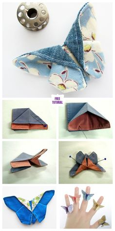 Fabric origami - DIY origami fabric butterfly sewing pattern and instructions Lily de Sat Diy Origami, Fabric Origami, Origami Design, Origami Tutorial, Diy Tutorial, Origami Paper, Origami Folding, Sewing Projects For Beginners, Sewing Tutorials