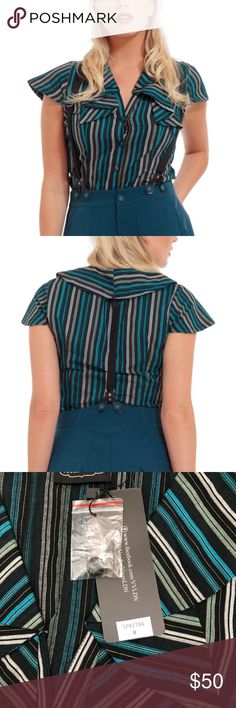 Blue Stripe Button-Front Top Size: Medium Voodoo Vixen Tops Button Down Shirts