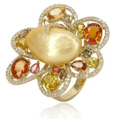 18k yellow gold floral ring by Classic Jewelry Company is lined with diamonds and features a baroque pearl center, with multicolor gemstone accents #pearl #yellowgold #diamonds