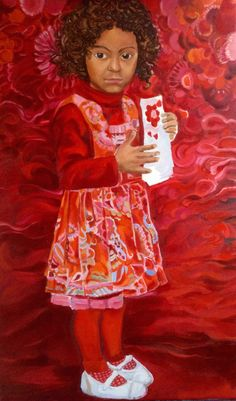 Aisha in Oilily dress, oil on canvas by Sanneke Griepink, 2014
