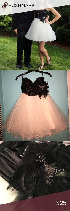 Black and white dress Wore this for homecoming and got lots of compliments. The feather is detachable it is pinned on. Make me an offer! Everything must go! Speechless Dresses Prom