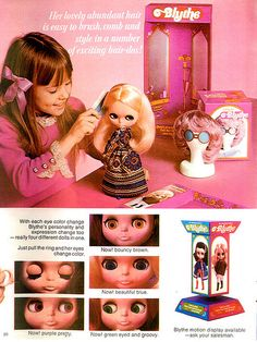 Blythe doll add from the 70's - check out the wig stand . Love it!!
