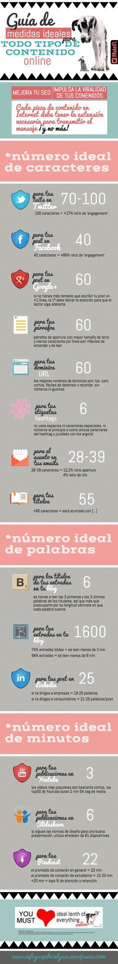Guía de medidas ideales para cualquier tipo de contenido online, infografía de Rakel Felipe