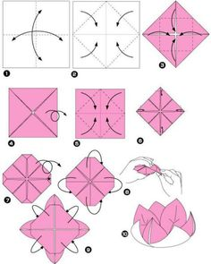 Step by step origami flowering instructions Posts Origami Lotus Flower Origami .Step by step origami flowering instructions Posts Origami Lotus Flower Origami Fl . Origami Design, Instruções Origami, Easy Origami Flower, Origami Lotus Flower, Origami Star Box, Origami And Kirigami, Origami Ball, Origami Fish, Paper Crafts Origami