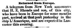 Genealogical Gems: On This Day: Lancaster man returns from Europe