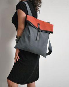 Waterproof backpack Messenger bag Gray red by misirlouHandmade