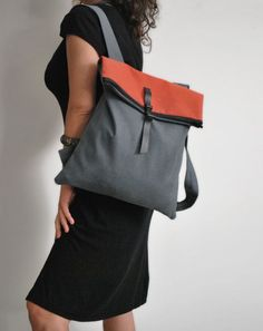 Waterproof backpack Messenger bag Gray red by misirlouHandmade