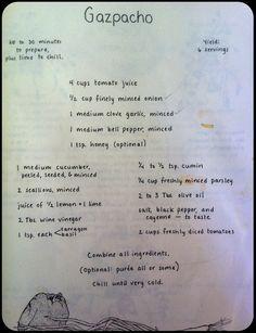 My favorite Gazpacho recipe from Moosewood Cookbook by Mollie Katzen .