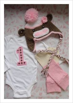 Birthday Girl Toddler Sock Monkey Set in Pink and Brown Onesie Leg Warmers Monkey Hat. $53.99, via Etsy.