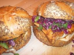 Blackened Cod Rolls with Red Cabbage Slaw and Chipotle Mayo