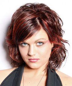 Medium Hairstyle - Wavy Casual - Dark Red   TheHairStyler.com