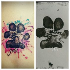 My puppy's paw print tattoed above my ankle... ❤