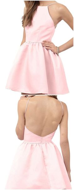 pink homecoming dresses,short homecoming dresses,satin homecoming dresses