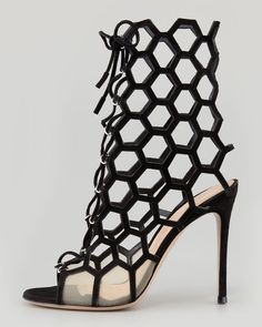 54532daf7 Gianvito Rossi Laceup Honeycomb Opentoe Bootie Black €1,129 Resort 2014  #Shoes #Heels Stilettos