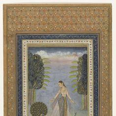 Kakubha ragini: a Forlorn Lady walking amongst Peacocks, anonymous, c. 1775 - 1799 - Rijksmuseum