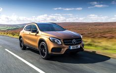 Download wallpapers Mercedes-Benz GLA, 2017, AMG, 4MATIC, GLA 220d, compact crossover, bronze, German cars, Mercedes