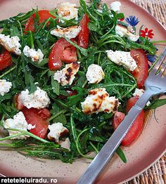 Roasted ricotta cheese, tomatoes & rocket salad
