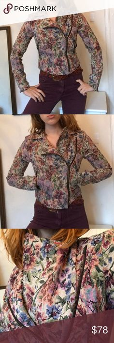 Antique Inspired Free People Jacket Killer antique vibes on this distressed floral asymmetrical jacket!! Such a unique fit with this sorta print. It's like a carpet bag got sexy. It is a size zero but runs a bit big, like a 4. Lining has some tearing but nothing that effects the overall look or comfort. Warm it up with extra layers, very Charles Dickerson character, also has extra old school vibes with cool distressing on the fabric, some threads popping, hard to capture on the picture. Free…